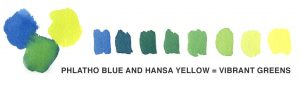 Mix phthalo blue with hansa yellow for vibrant greens